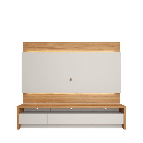 Rack Colonia com Painel Lincoln Cinamomo c/ Off  White 217 cm